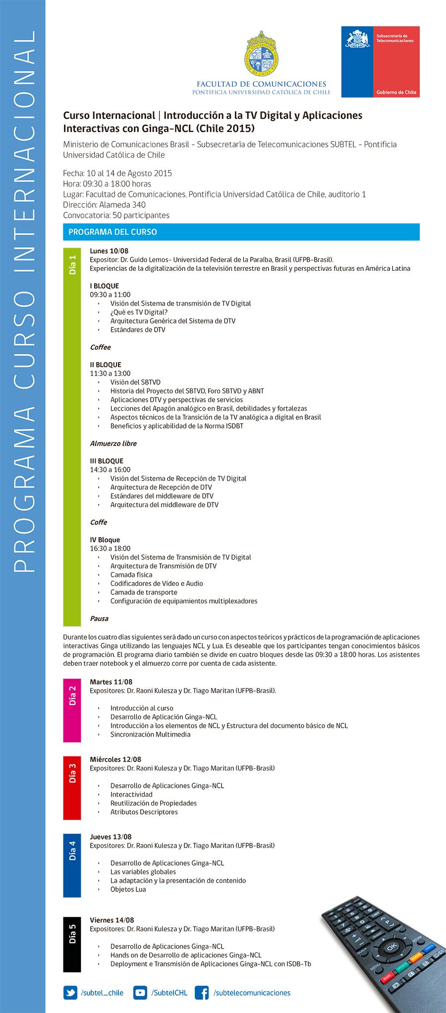 Programa Curso Internacional TVD Agosto 2015